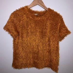 ZARA PARIS Burnt orange fuzzy shirt